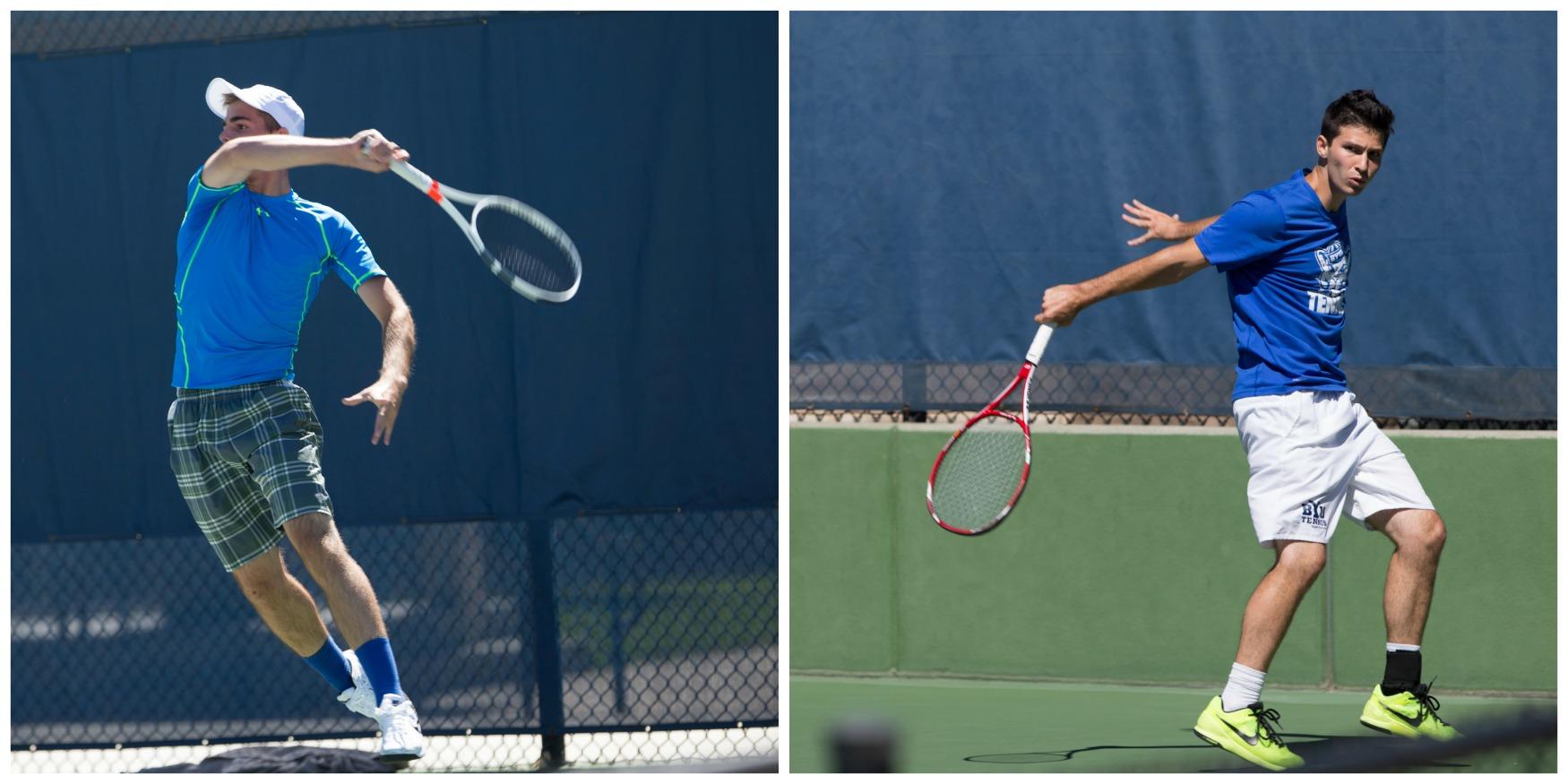 Sam Tullis (left) and Matt Pearce (right) competing in the Fall Tennis Classic. (Gian Luca Cuestas)
