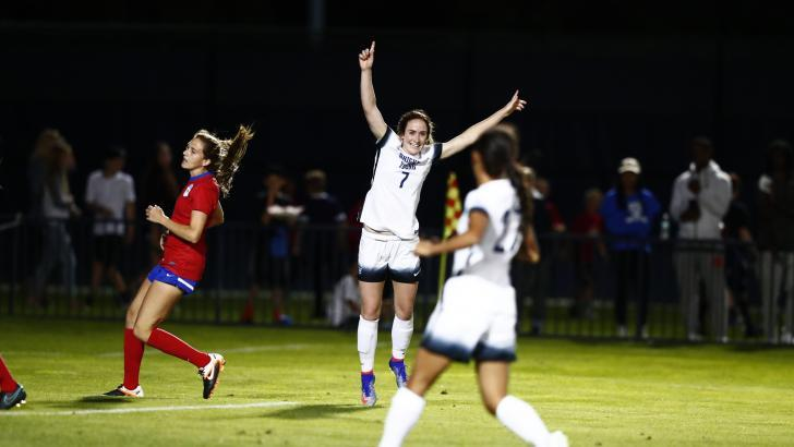 Michele Vasconcelos celebrates after scoring a goal against SMU. Vasconcelos, a senior captain, scored two goals in BYU's 4-0 win. (BYU Photo)