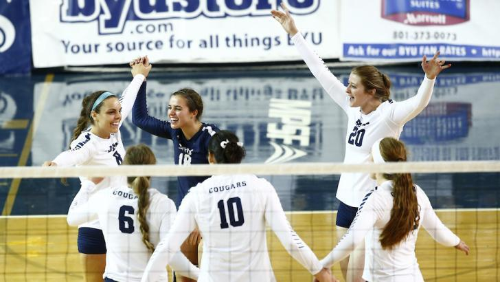 The BYU women's volleyball team celebrates after scoring a point at the DC Sports Koehl Classic. (BYU Photo)