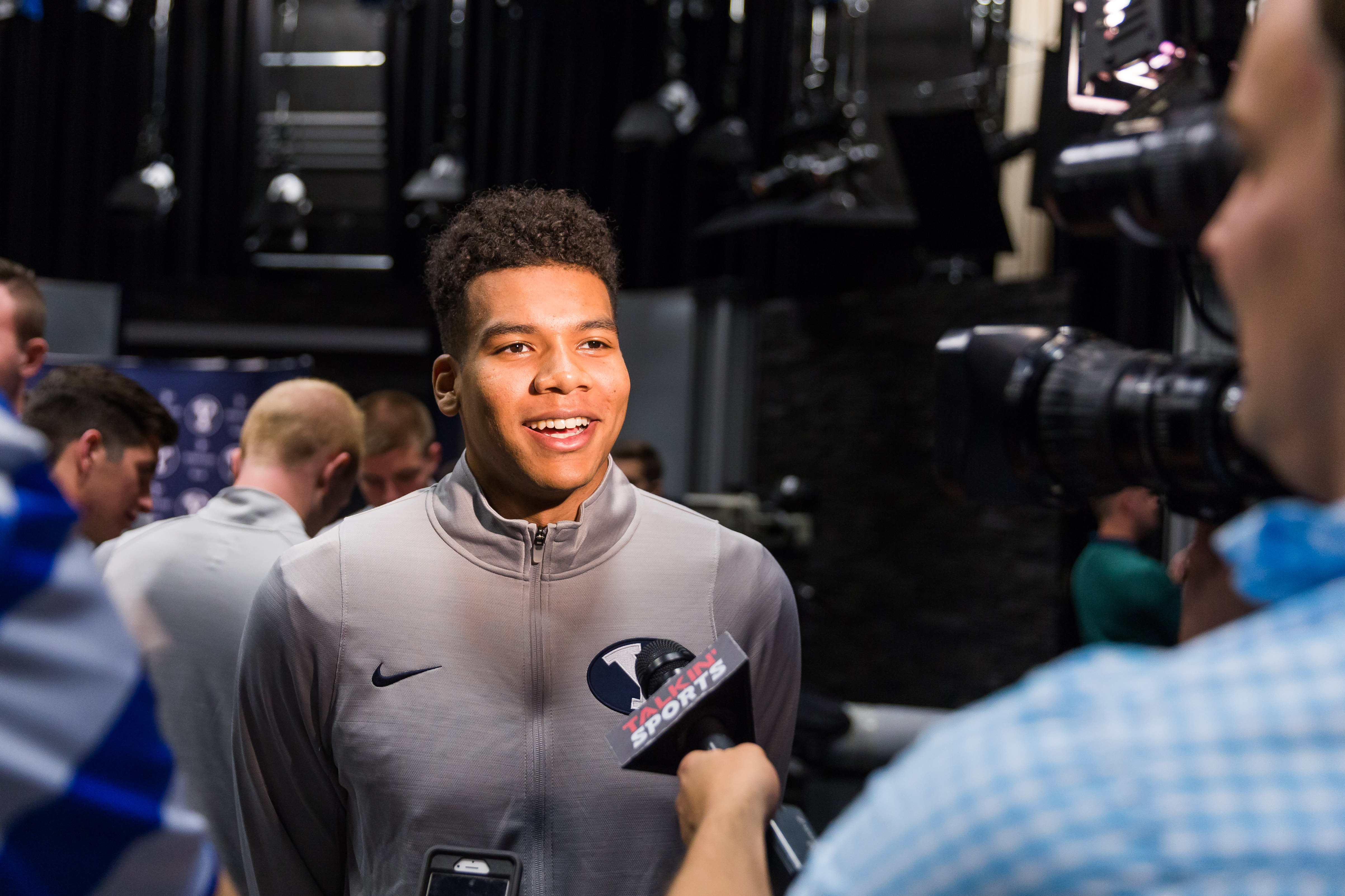 Yoeli Childs speaks to the media. Childs was a four-star recruit out of high school. (Ari Davis)
