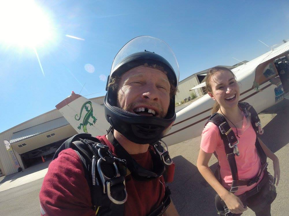 Andy Lewis videos and takes picture of he and Carlie Derrick before sky diving. (Carlie Derrick)