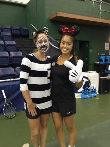 Savannah Ware (left) and Nicolette Poulsen (right) dress up for Halloween at BYU Womens Tennis practice.