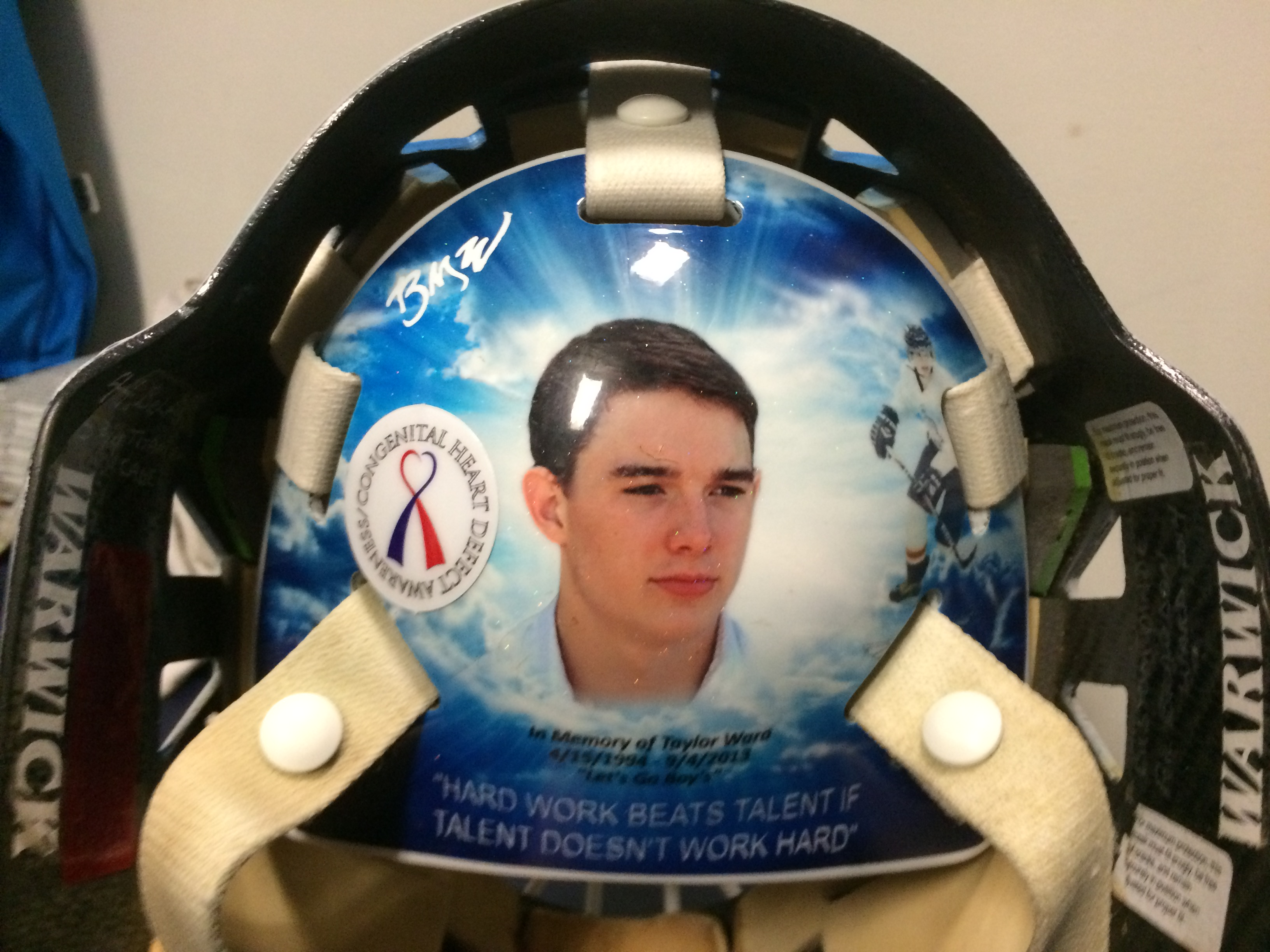 BYU goalie Brandon Ward's helmet commemorates his late brother, Taylor, who was killed in a car accident. (Brandon Ward)