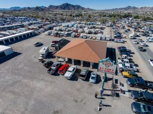 Overhead view of Tyson Wells RV Park. Visitors from all over the world come for the various shows Quartzsite has to offer. (Photo courtesy of Kym Scott)