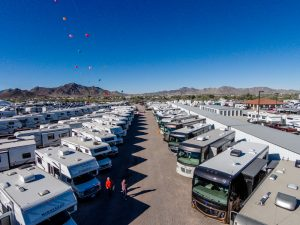 RVs pack the streets. There are over 60 RV parks to stay in at Quartzsite. (Photo courtesy of Kym Scott)