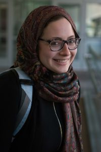 "Middle Eastern studies major Stefanie Shepley, from Virginia, wore a hijab in support of Muslims on Wednesday, Nov. 9. She wanted to ""show solidarity with the people Trump has repeatedly mocked and made feel unwelcome."" She also wore all black as a sign of mourning and because many women wore all white leading up to the election in support of Secretary Clinton. (Ryan Turner)"