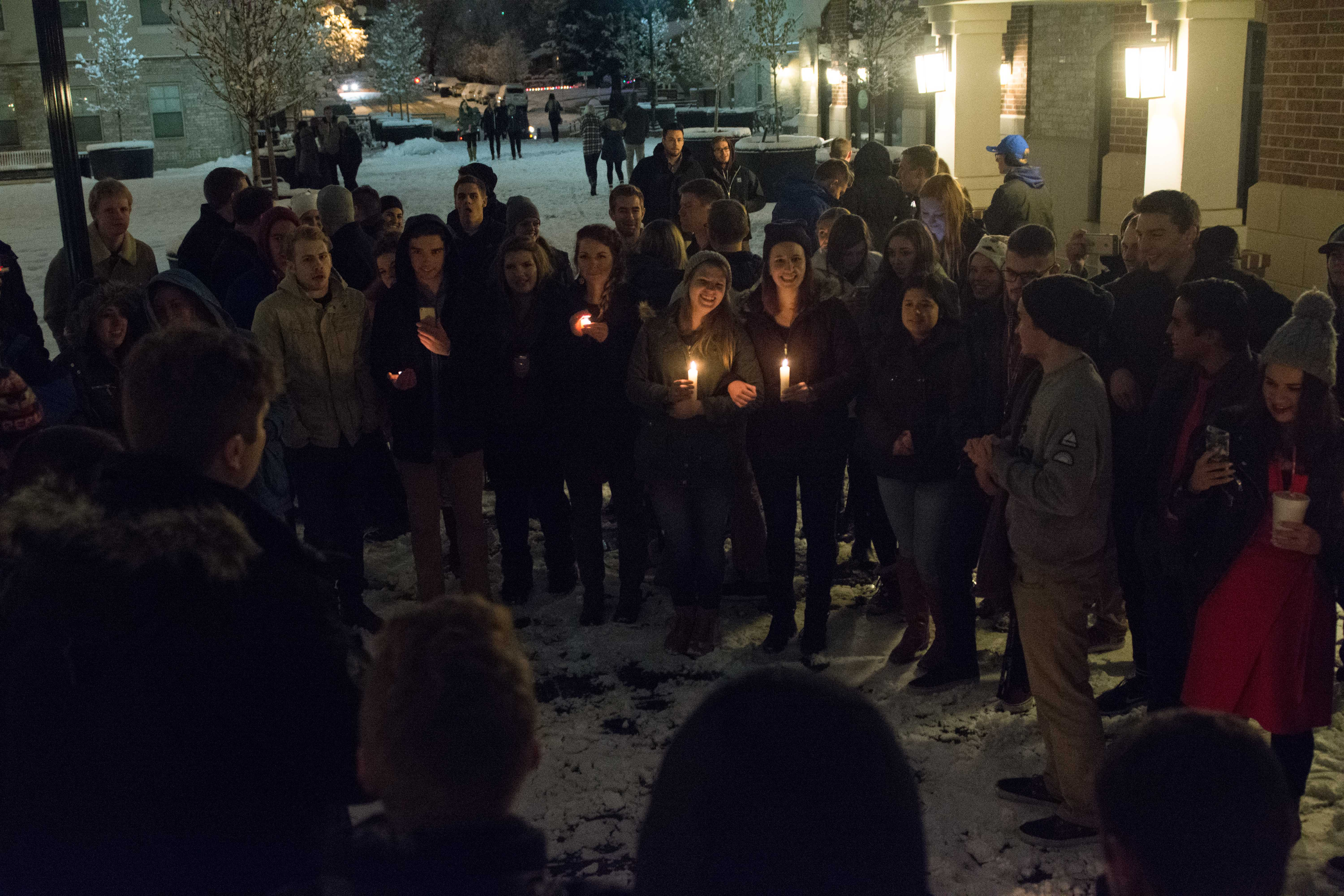 Students gather at the Village at South Campus to remember Harambe's life. (Ryan Turner)