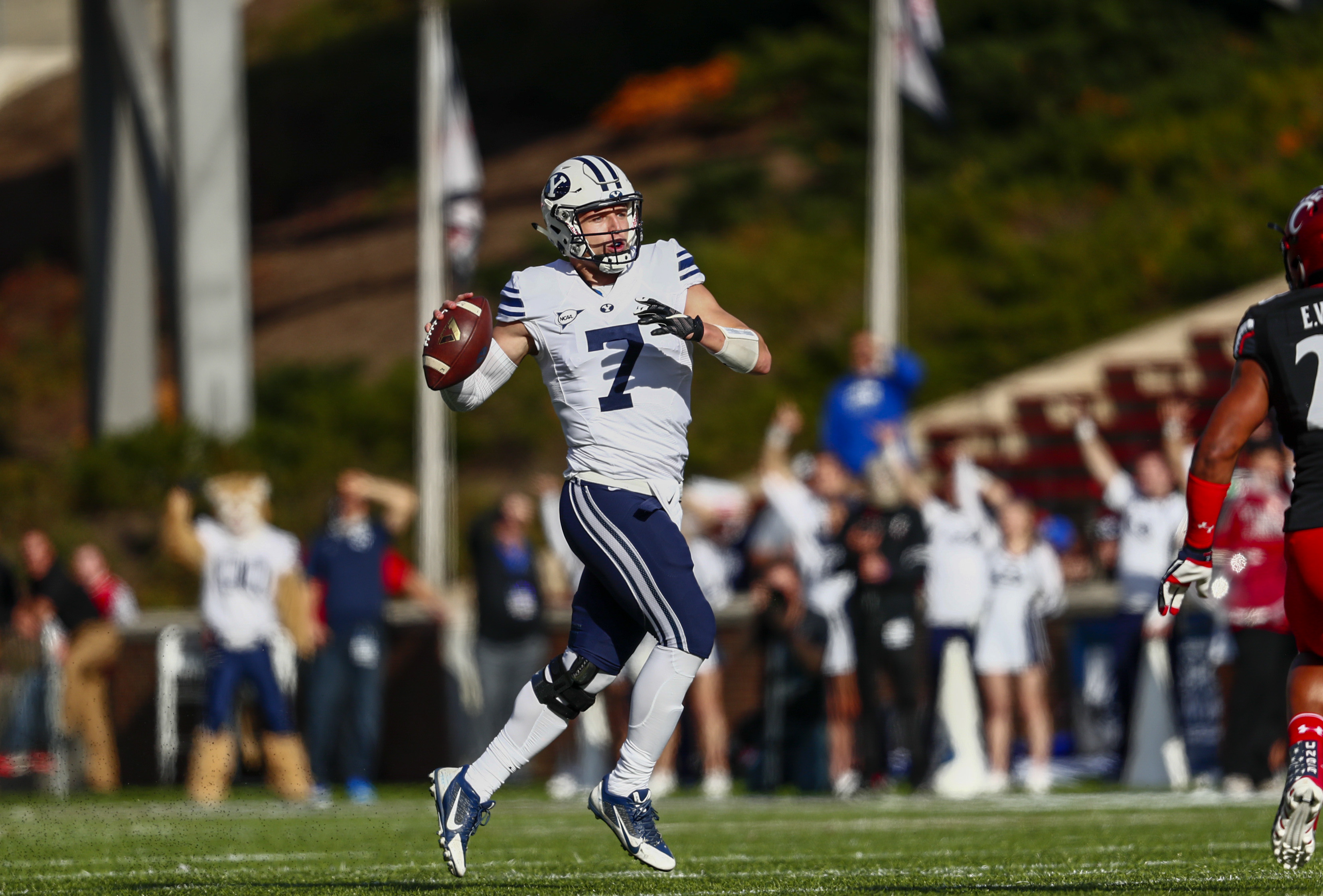 BYU quarterback Taysom Hill scans downfield against Cincinnati. Hill threw for just 130 yards against the Bearcats. (BYU Photo)