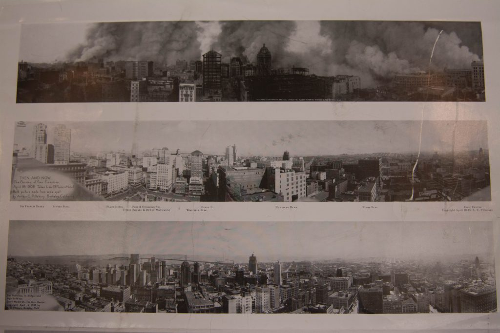 These panoramic photographs show San Francisco before and after the 1906 earthquake. Pillsbury invented the panoramic camera. (Ryan Turner)