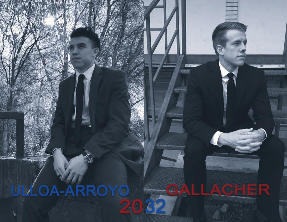 """Daniel Gallacher and his friend Brady Ulloa jokingly announced their run for President and Vice President in 2032. Their caption stated that, """"American may end tomorrow, but our future starts today."""" (Trevor Morgan)"""