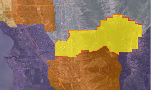 The yellow area with red borders represents Dean Sanpei's area of representation, District 63. BYU's campus is in the exact middle of the picture.