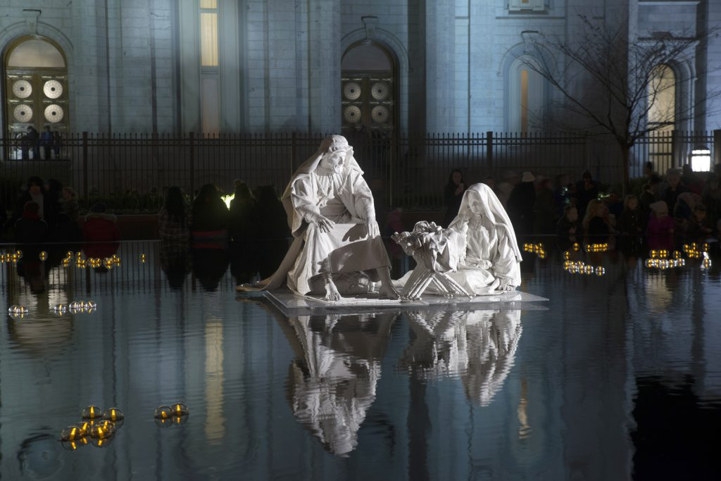 A floating nativity sits on the reflecting pool near the Salt Lake City Temple at Temple Square. Temple Square will be hosting various Christmas and New ...