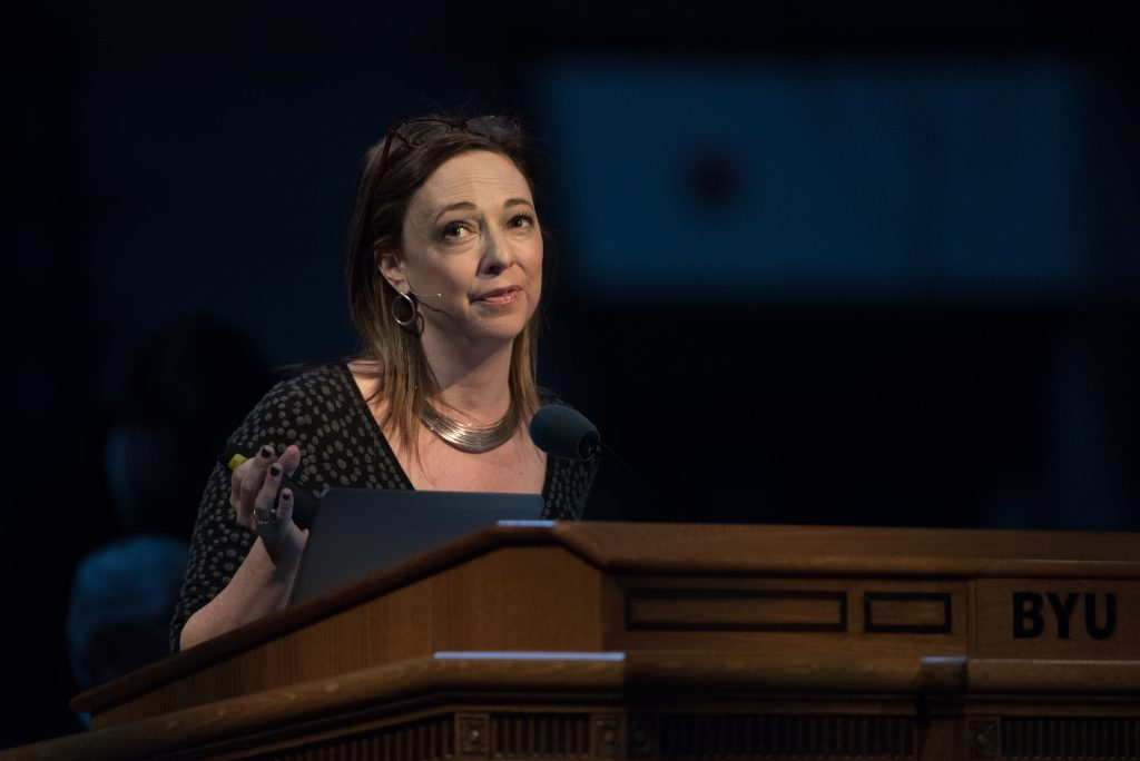 Susan Cain, best-selling author, speaks at BYU Forum to students on how to succeed with their own personality. (Ryan Turner)