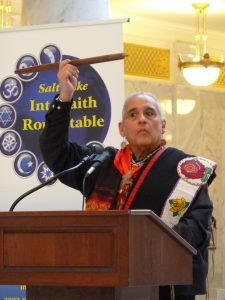 First Nation Representative Lacee Harris explained the Peace Pipe at the Capitol Blessing Event. (Courtesy of Wendy Stovall)
