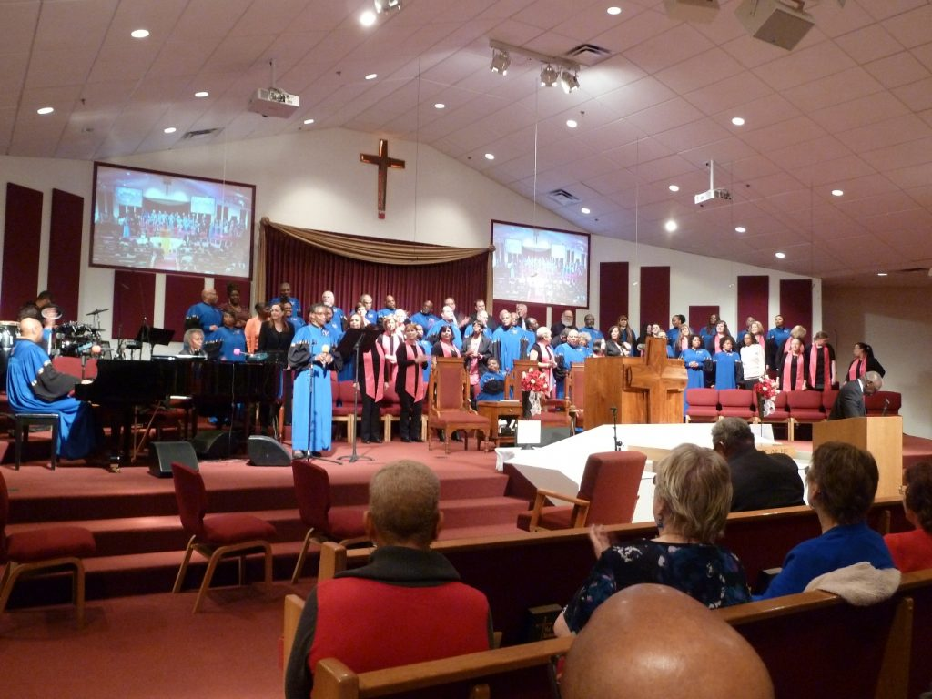 "The Hilltop Choir and the Calvary Baptist Church Choir preformed at the Calvary Baptist Church's ""Gospel Extravaganza"" for a fundraiser for Crossroads Urban Center. (Photo courtesy of Wendy Stovall)"