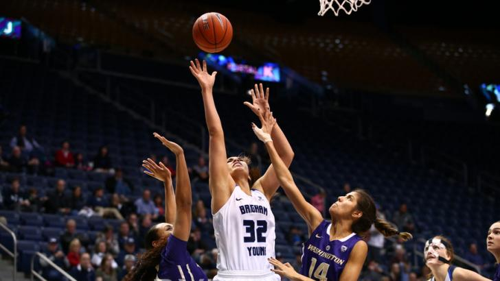 Kalani Purcell rebounds the ball earlier this season. Purcell pulled in 19 rebounds against San Francisco. (BYU Photo)