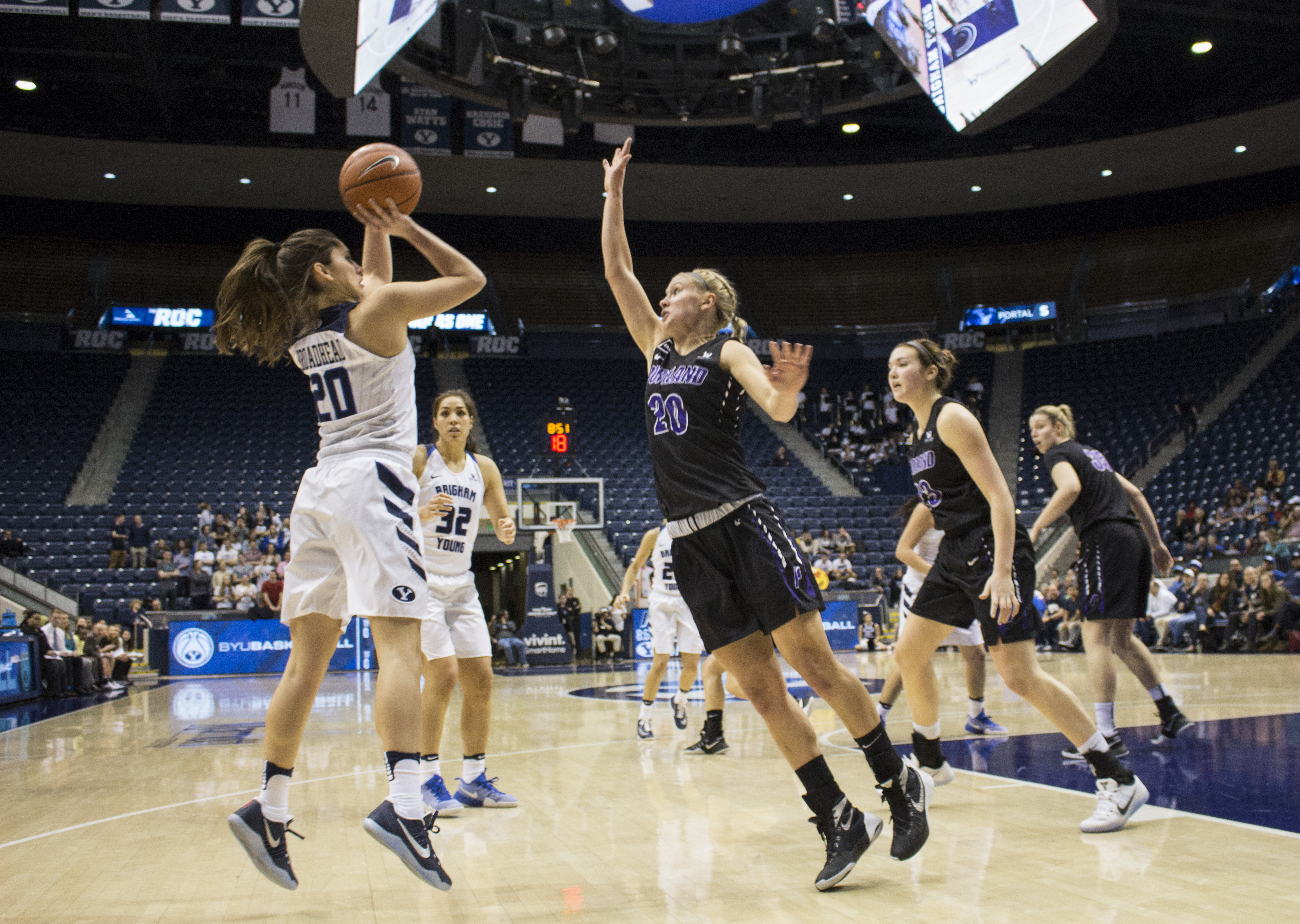 Two double-doubles lead BYU women's basketball to victory against Portland