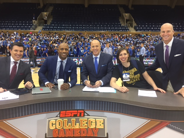 Melanie Pearson Day with the hosts of ESPN's College Game Day at Cameron Indoor Stadium. (Melanie Pearson Day)