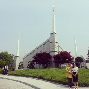 Gayun Kim stands with her mother in front of the Seoul, South Korea LDS Temple. (Gayun Kim)