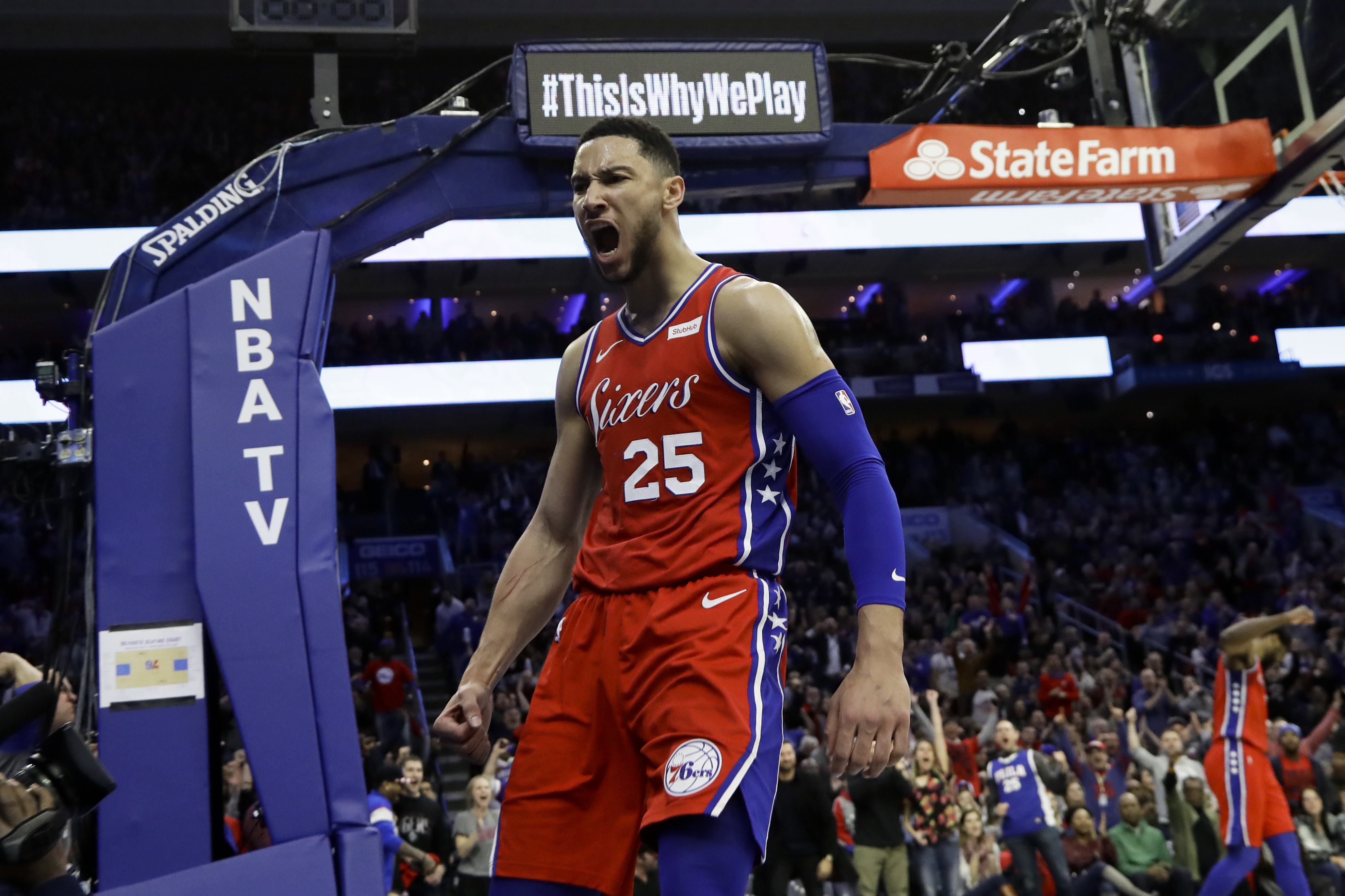 63050189fb48 Philadelphia 76ers  Ben Simmons reacts after being fouled during the second  half of the team s NBA basketball game against the Denver Nuggets
