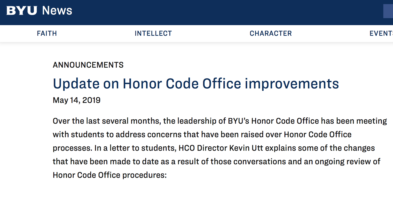 BYU announces changes in how students interact with Honor Code